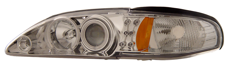 94-98 Mustang Headlights 1 PC - Angle Eye LED Projector CHROME (CCFL) Style 015 (Pair)