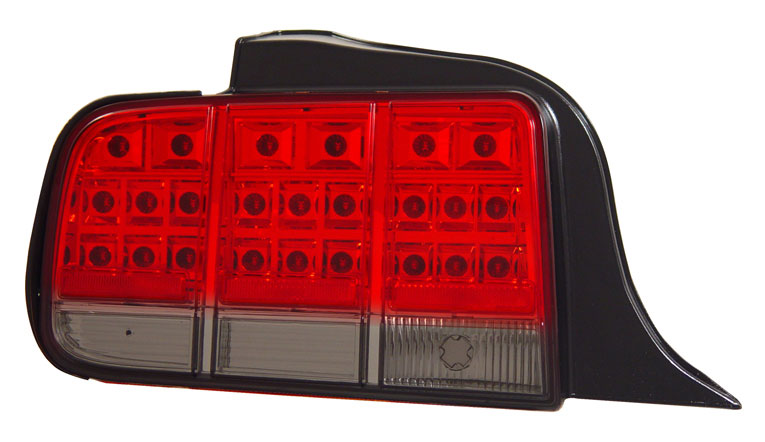 2005-2009 COMBO Mustang Gen 5 PROJECTOR with DUAL HALO (CCFL) (Pair) & Taillights Gen 3 - LED Red with Smoked (Pair)