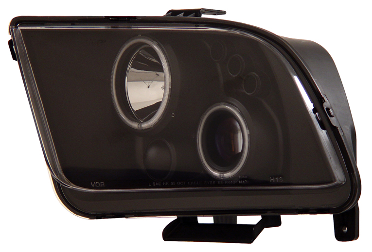 05-09 Mustang Headlights GEN 5 PROJECTOR with DUAL HALO (CCFL) and LED Turn Signals- BLACK (Pair)