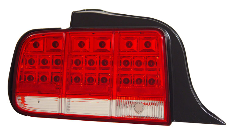 05-09 Mustang Taillights Gen 3 - LED Red with Clear (Pair)