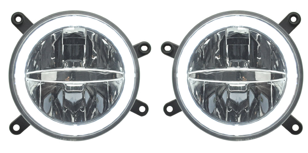 05-09 Mustang Fog Lights - HALO Ring Daytime Running Lights/LED Rally Fog Lamps - Clear Lens (Pair)