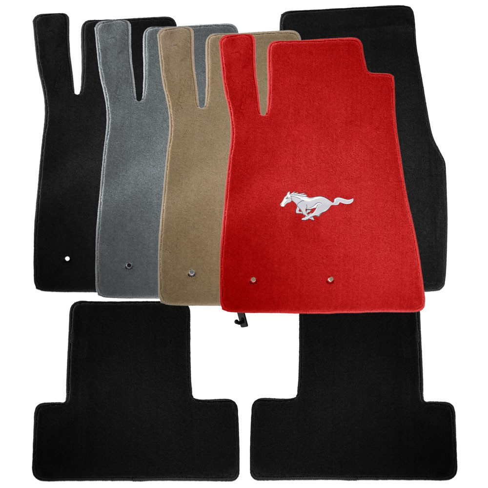 2005-2010 Mustang Coupe / Convertible Heavy Plush Floor Mats - Gray (5 Emblem Options)