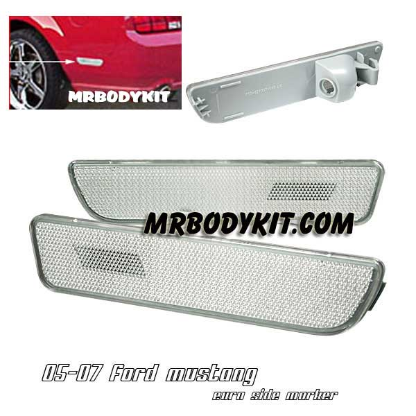 2005-2009 COMBO Mustang Front Bumper Lights - CHROME - No Amber (Pair) & Diamond Rear Bumper Reflectors - CLEAR (Pair)