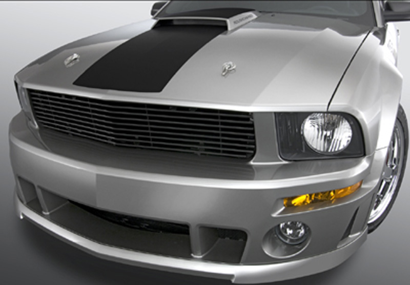 05-09 Mustang GT - 1PC Upper Billet Grille Fog Light Delete (9 BARS) (801135) CHROME OR BLACK