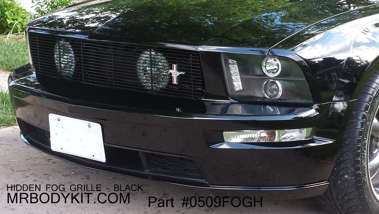 05-09 Mustang GT - 1PC Upper Billet Grille Fog Light Delete HIGH FLOW Replacement (9 BARS) (801135) CHROME OR BLACK