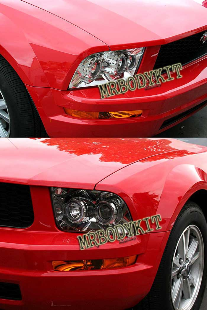 05-09 Mustang Headlights GEN 2 PROJECTOR with Dual HALO- CHROME (Pair)