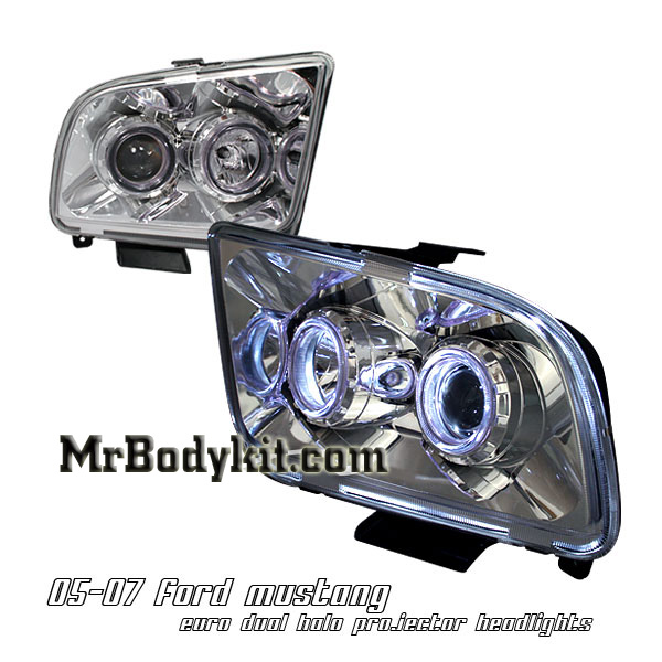 05-09 Mustang Headlights GEN 2 PROJECTOR with Dual HALO - Dark Chrome (Pair)