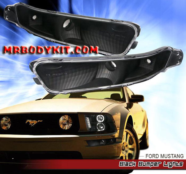 05-09 Mustang Front Bumper Lights - BLACK - No Amber (Pair)