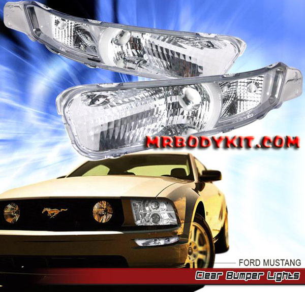 05-09 Mustang Front Bumper Lights - CHROME - No Amber (Pair)