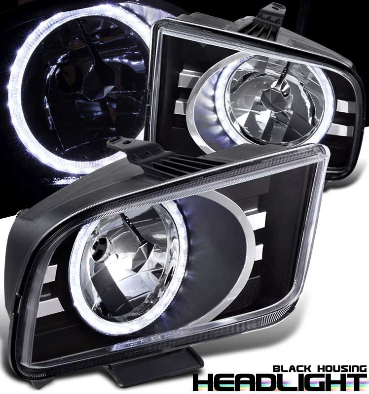 05-09 Mustang Headlights Gen 8 Halo - Black (HID Compatible)