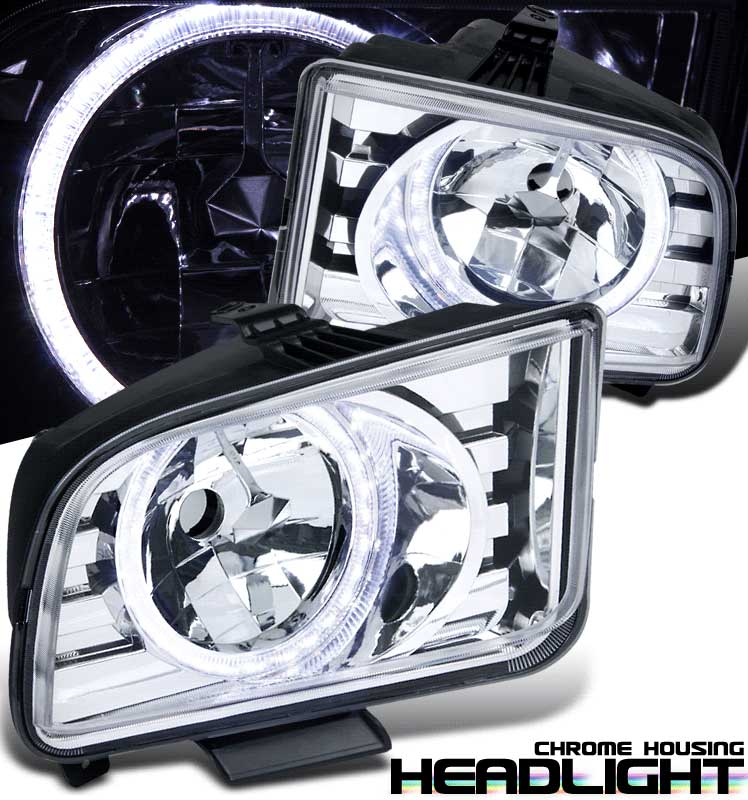 05-09 Mustang Headlights Gen 8 Halo - Chrome (HID Compatible)