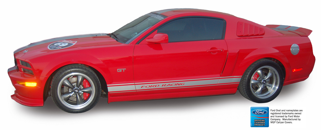 2005-2014 Mustang GT/V6 Caliper Cover (Set of 4) - RED - BARS & PONY Logo