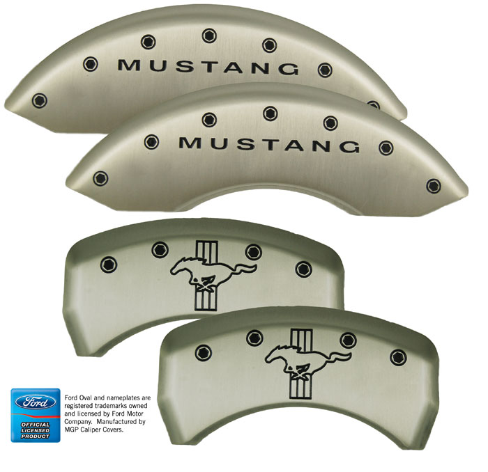 2005-2014 Mustang GT/V6 Caliper Cover (Set of 4) - SATIN SILVER - BARS & PONY Logo