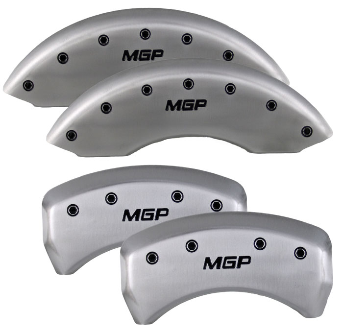 2005-2013 Mustang GT/V6 Caliper Cover (Set of 4) - SATIN SILVER - MGP Logo