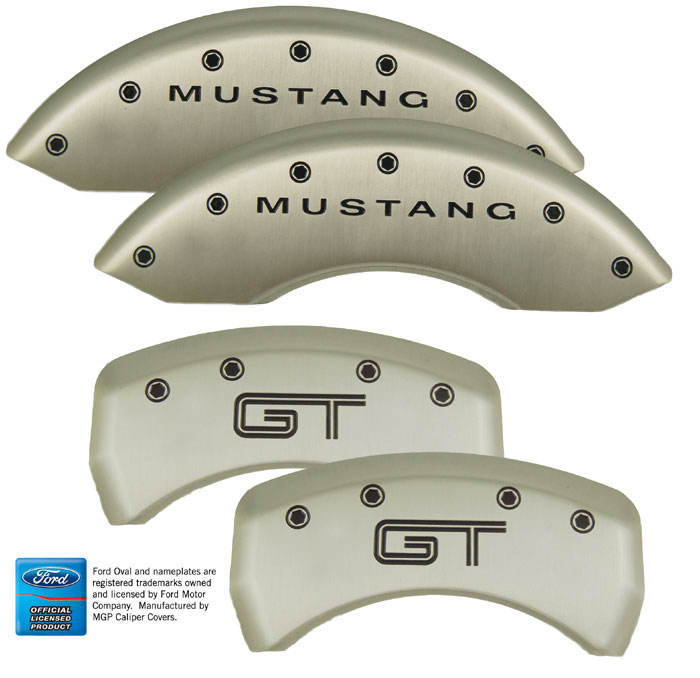 2005-2013 Mustang GT/V6 Caliper Cover (Set of 4) - SATIN SILVER - GT EMBLEM Logo