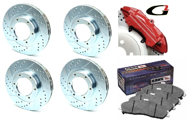 2005-2009 Mustang Drilled & Slotted Brake Kit - Complete 9 COLOR CHOICES