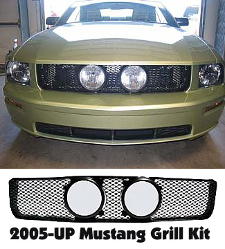"2005-09 Street Scene Mustang Center Fog Light Grills ""MESH STYLE"" V6 KIT"