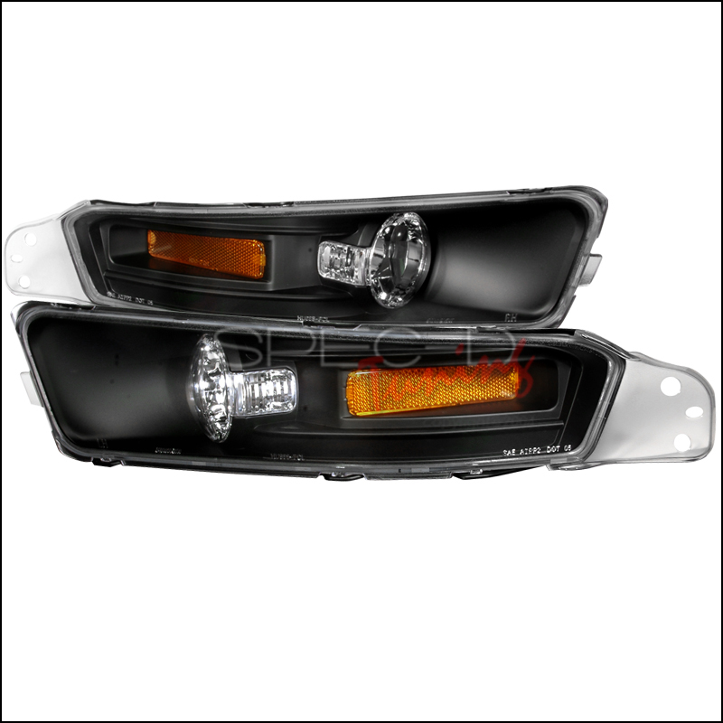 05-09 Mustang Front Bumper Lights - Black - With Amber Gen 2