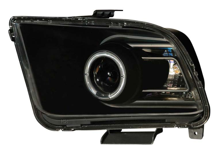05-09 Mustang Headlights GEN 7 PROJECTOR with HALO (The 2010+ Look Style)- BLACK (Pair)