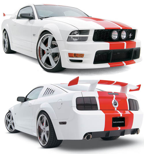 05-09 Mustang 3D Carbon Boy Racer 13PC Bodykit w/Choice of 3 Wing Styles + Scoops + U-Trim (Paint Options)
