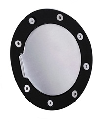 2005-2009 & 2010-2014 Mustang Replacement Fuel Door - Flat Black Ring and Chrome Door