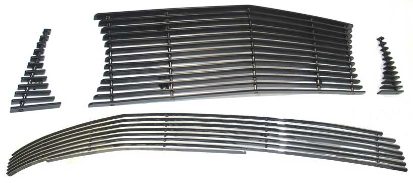 05-09 Mustang GT - 3PC Upper & Lower Billet Grille COMBO Kit with No Cut out for Pony CHROME or BLACK