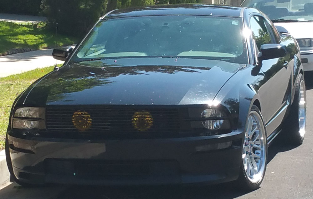 05-09 Mustang GT - 1PC Upper Billet Grille with Hidden Fog Light Option (9 BAR GRILLE) CHROME or BLACK