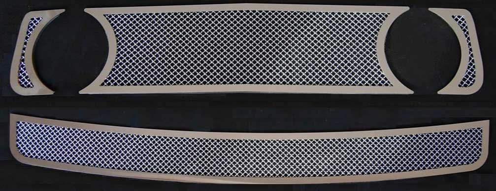 05-09 Mustang GT - 3PC Upper & Lower MESH Grille w/Stainless Steel Frame COMBO