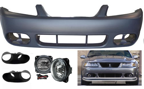 03-04 COBRA Style Mustang - Front Bumper with Fog Lights w/Bezels & Chin Spoiler - Fits Any 99-04 Mustang (Urethane)