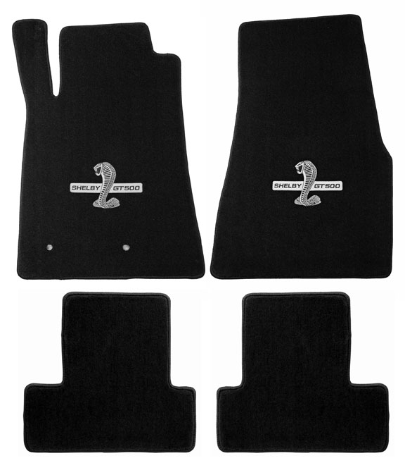 2011-12 SHELBY Mustang Coupe / Convertible Floor Mats - Black (6 Emblem Options)