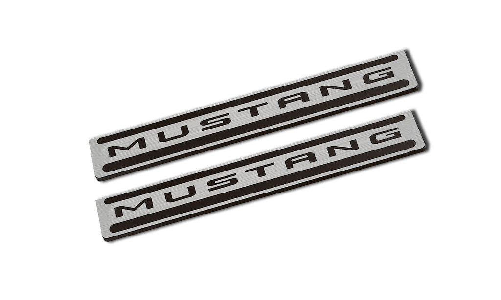 2015-16 Mustang Door Sills Two Tone Brushed