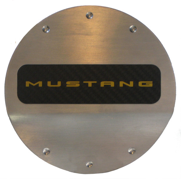 2015-2016 Mustang Defender Worx Fuel Door - Yellow Logo Fuel Door- Brushed