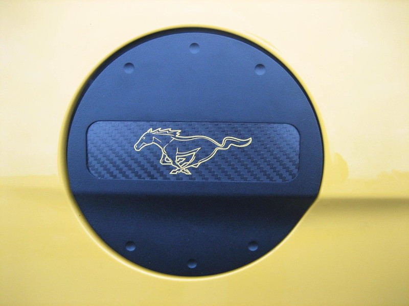 2015-2016 Mustang Defender Worx Fuel Door - Pony Yellow Logo Fuel Door- Black