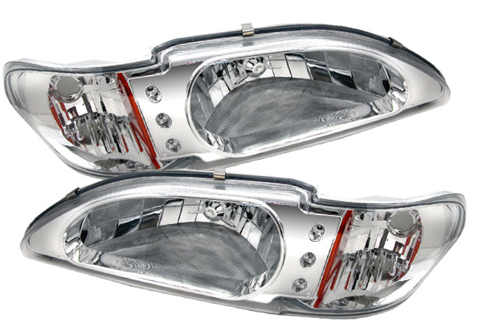 94-98 Mustang Headlights 1 PC - CHROME Style 017 (Pair)