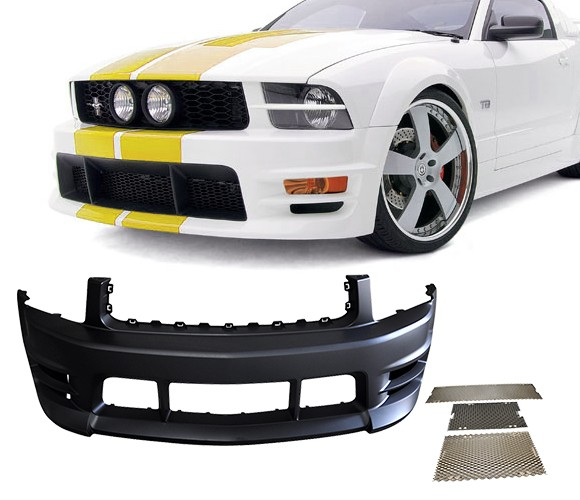 05-09 Mustang V6 Racer Front Bumper with Mesh inserts - V6 Only - Polyurethane