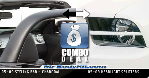 2005-09 COMBO Mustang Styling Bar - Charcoal + Headlight Splitters Version 1- Pair (Paint Options)