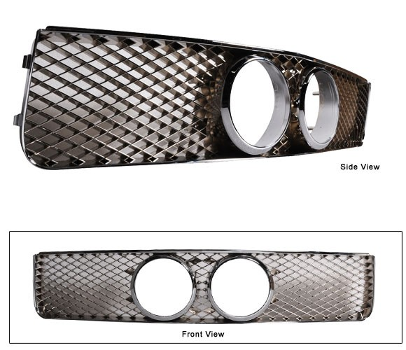 "05-09 Mustang Center Fog Light Grills ""MESH STYLE"" GT KIT - Black Chrome"