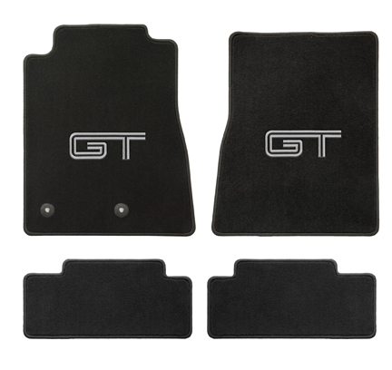 2011-2012 Mustang Coupe / Convertible Floor Mats - Black - Silver + Black GT