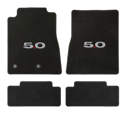 2013+ Mustang Coupe / Convertible Floor Mats - Black - 5.0