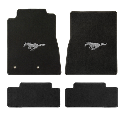 2013+ Mustang Coupe / Convertible Floor Mats - Black - Silver Pony Emblem