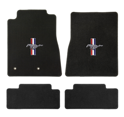 2013+ Mustang Coupe / Convertible Floor Mats - Black - Pony + Bars
