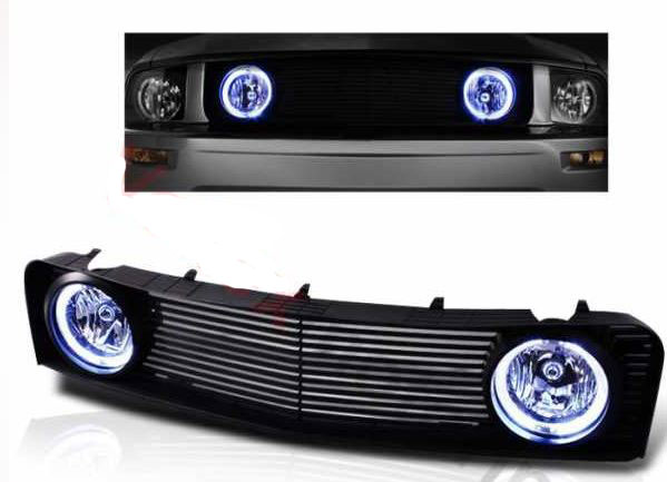 05-09 Mustang V6 Upper Replacement Black Grille With Halo Fog Lights (V6 Bumper only) - Clear Fogs