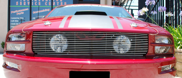 05-09 Mustang GT - 1PC Upper Billet Grille with Hidden Fog Light Option (15 BARS) CHROME or BLACK