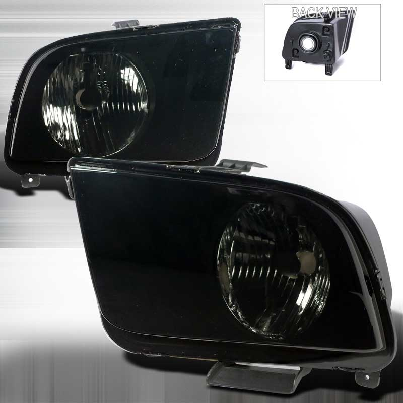 05-09 Mustang Headlights OE Style BLACK w/SMOKED Lens (pair)