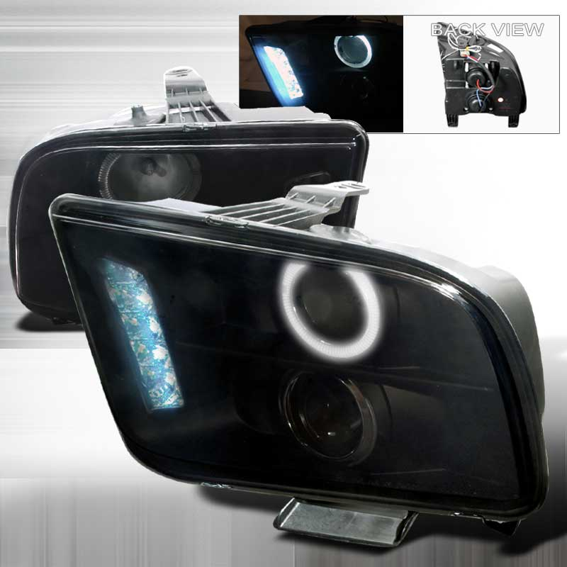 05-09 Mustang Headlights GEN 1 PROJECTOR with HALO and LED Turn Signals- Smoked Lens (Pair)