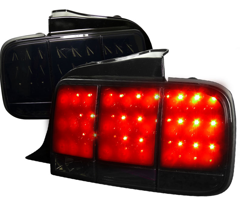 05-09 Mustang Taillights Gen 10 - LED built in Sequential Blink 1 - 2 - 3 Taillights - GLOSSY BLACK SMOKED (Pair)