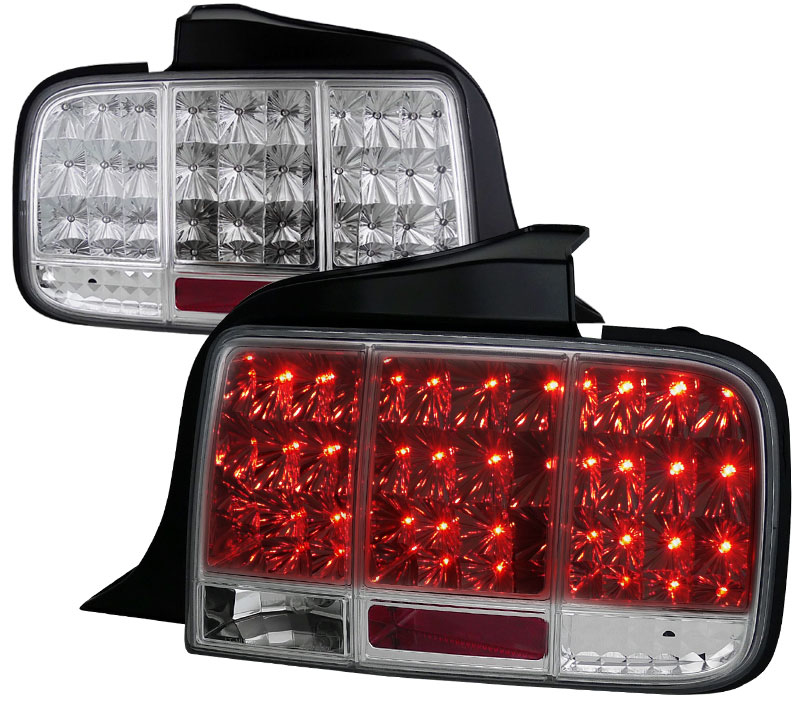 05-09 Mustang Taillights Gen 10 - LED built in Sequential Blink 1 - 2 - 3 Taillights - CHROME (Pair)
