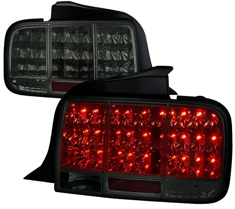 05-09 Mustang Taillights Gen 10 - LED built in Sequential Blink 1 - 2 - 3 Taillights - SMOKED (Pair)