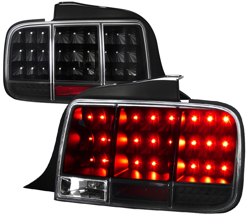 05-09 Mustang Taillights Gen 10 - LED built in Sequential Blink 1 - 2 - 3 Taillights - BLACK (Pair)