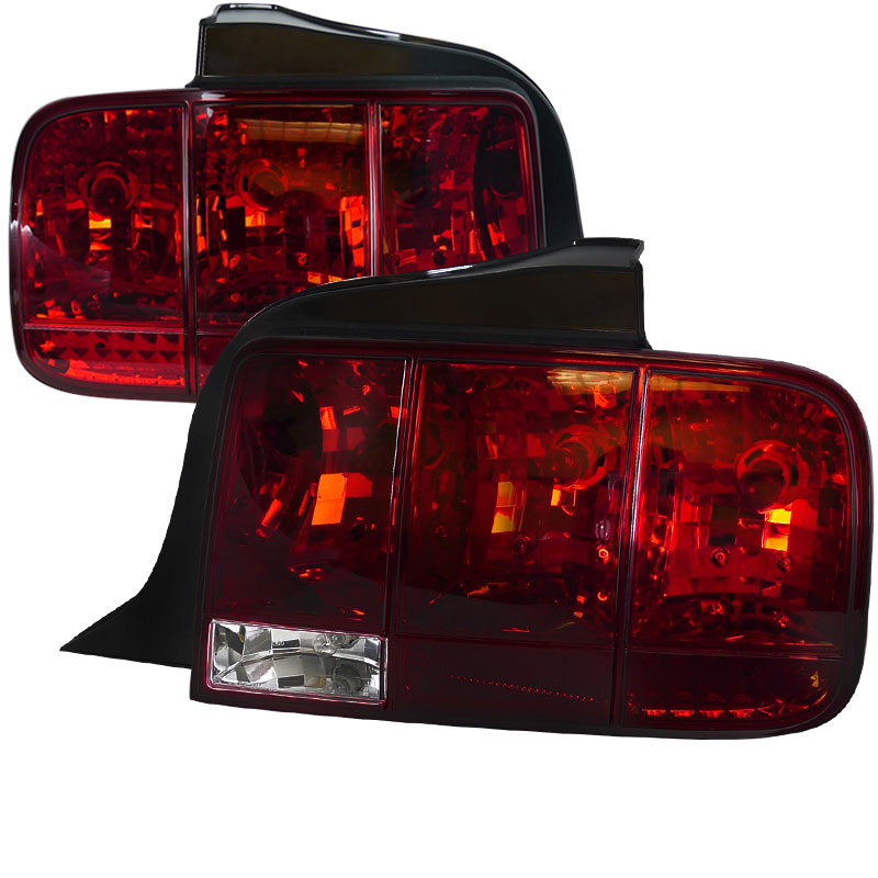 05-09 Mustang Taillights Gen 9 - Standard bulbs with built in Sequential Blink 1 - 2 - 3 Taillights - RED (Pair)